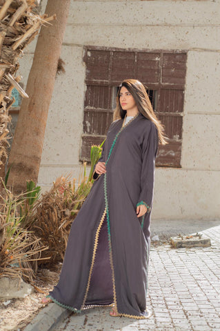 Grey Handmade Crochet Washed Silk Abaya
