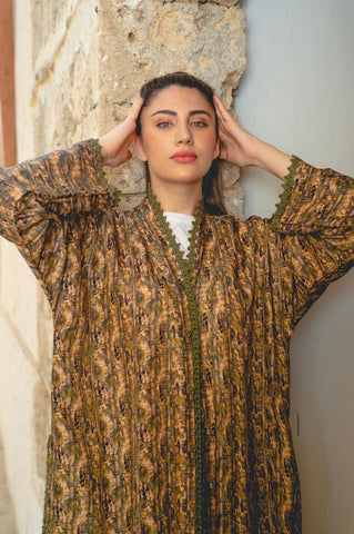 Brown and Golden Handmade Crochet Washed Silk Abaya