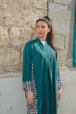 Green Washed Silk Slits Abaya