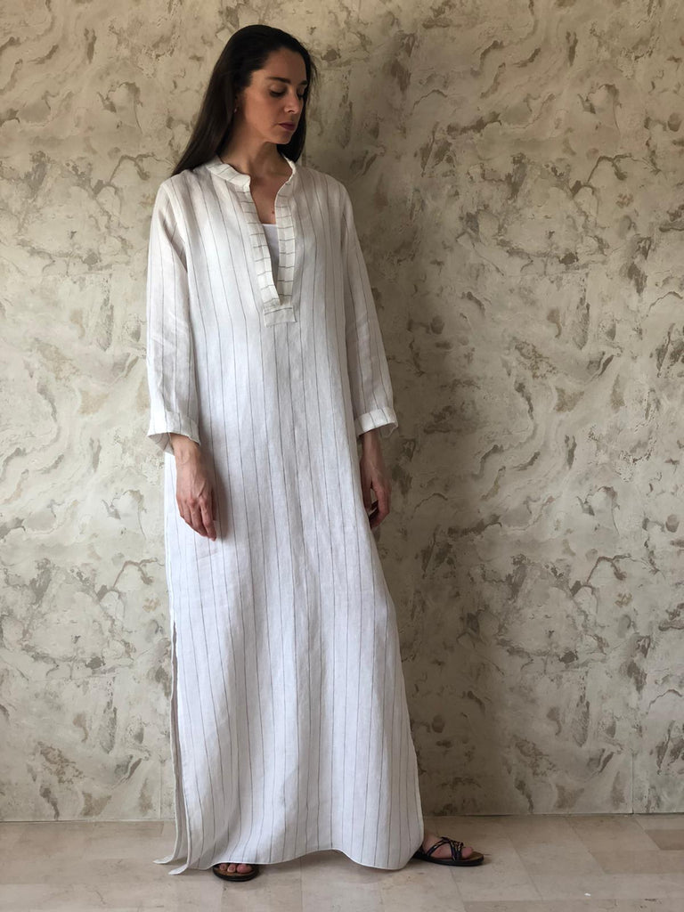 White Striped Stonewashed Linen Thobe