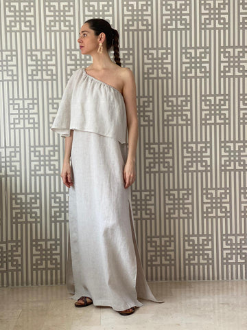 Beige Stonewashed Linen Off Shoulder Dress