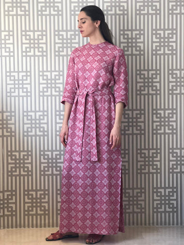 Cherry Woven Linen Belted Dress