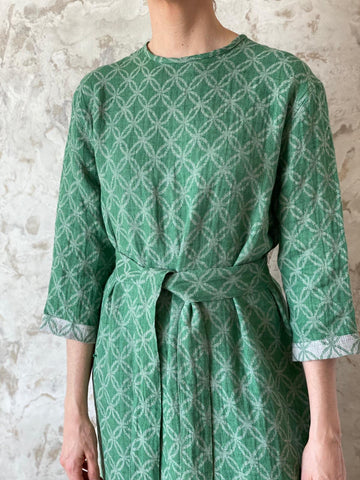 Green Woven Linen Belted Dress