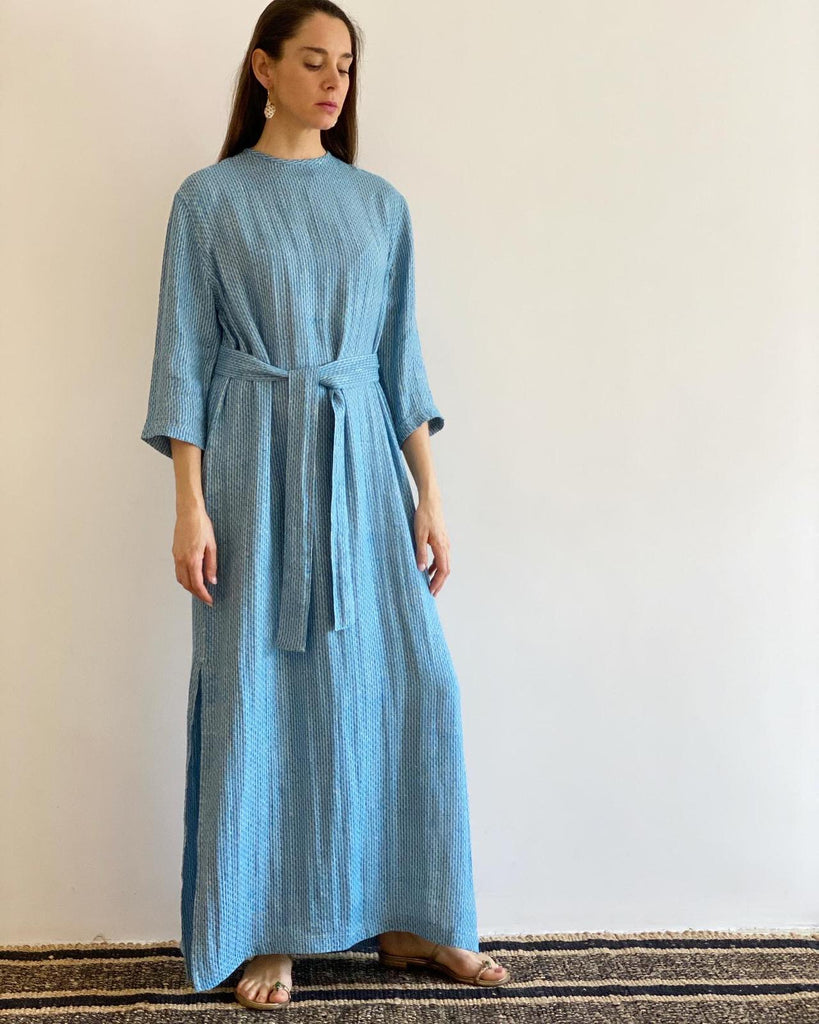 Blue Woven Linen Belted Dress