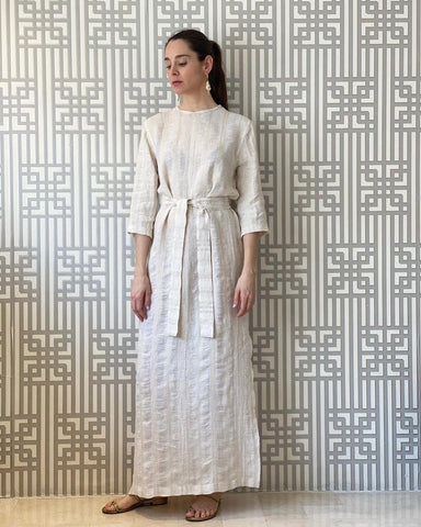 Ivory Woven Linen Belted Dress