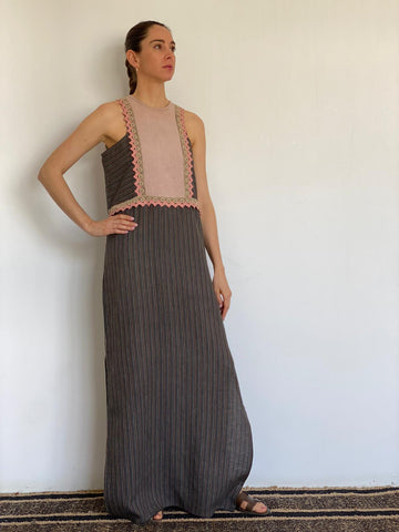 Grey Striped Stonewashed Linen Sleeveless Dress