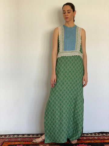 Green Woven Linen Sleeveless Dress