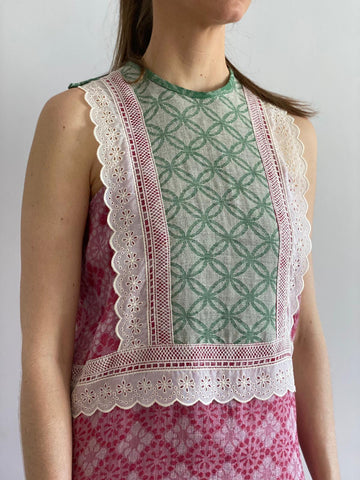 Cherry Woven Linen Sleeveless Dress