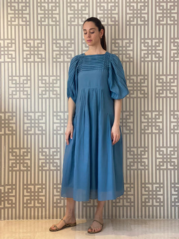 Blue Handmade Silk Cotton Dress.