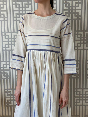 Blue Striped Handmade Cotton Dress