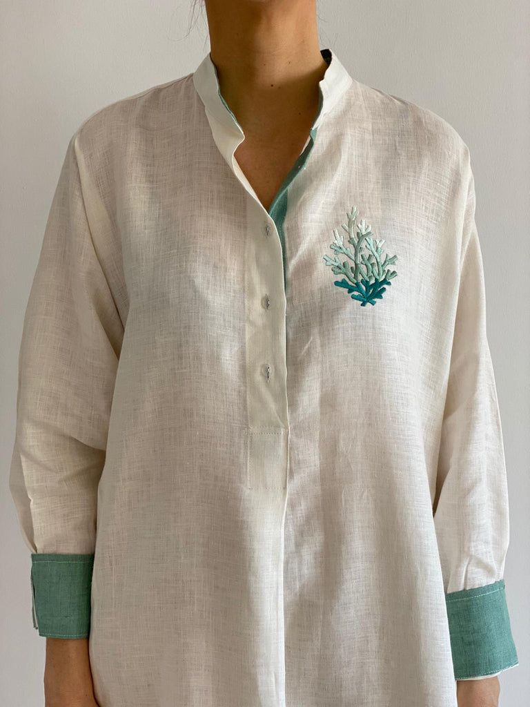 Light Beige with Light Green Sleeve Linen Sea Life Embroidered Thobe