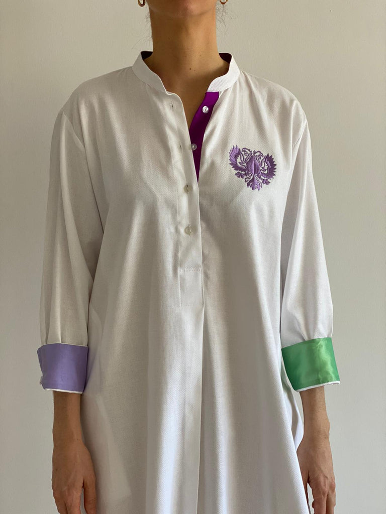 Purple and Green Sleeves White Oxford Cotton Silk Dress