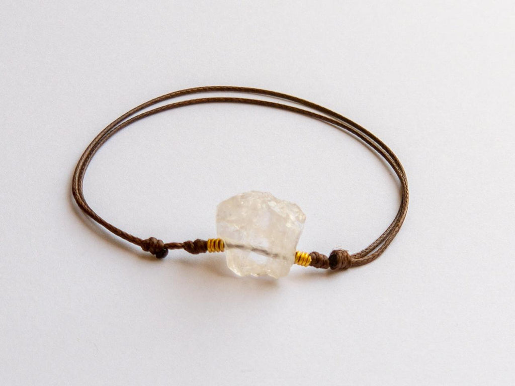 """White Quartz Leather Bracelet"""