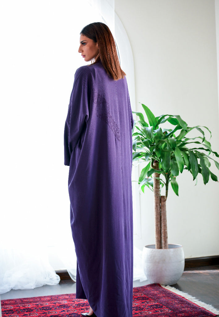 """Natural Silk Purple Abaya"""
