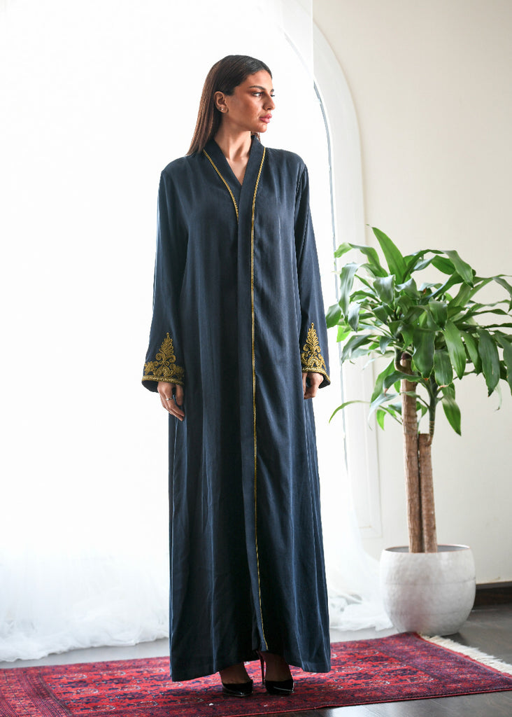 """Silk Abaya Embroidered with Golden Threads"""