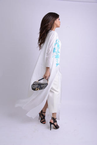 Linen Blue Flower Embroidery Abaya
