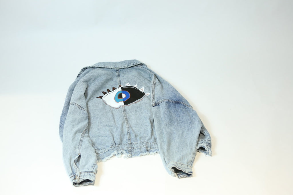 Denim jacket with hand painted eye