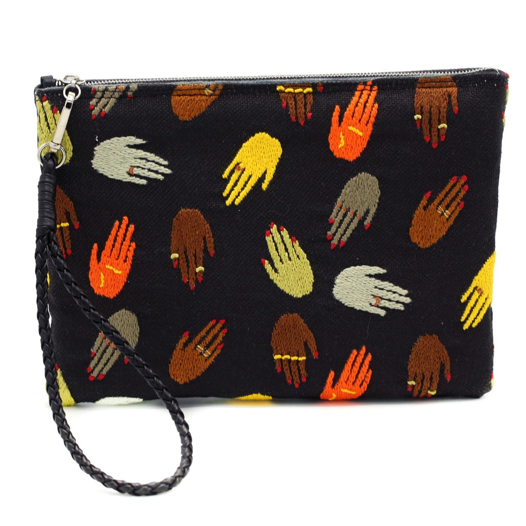 """Waving Hands""  Hand Black Pouch"