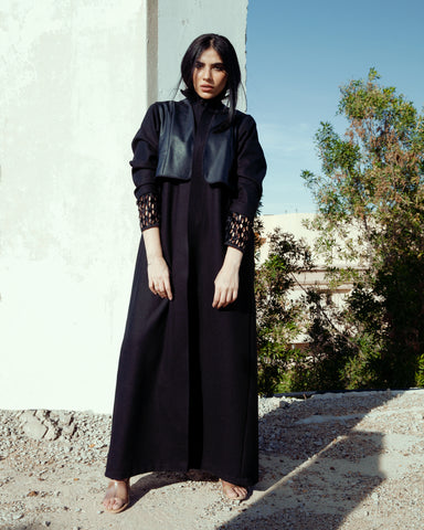 """Black Wool Abaya with Leather"""
