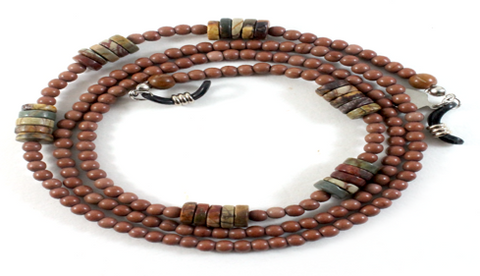 Brown Agate w/ Wood Beads Eyewear Chain