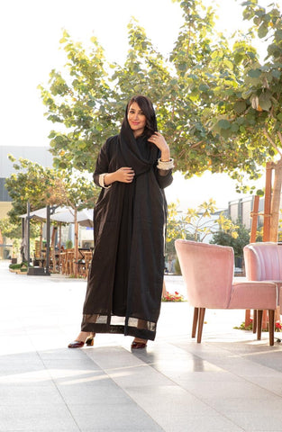 """Signature Abaya with Map Embroidery"""