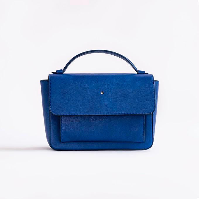 """Blue Majorel One Hole Handbag"" with Free Saudi Emblem Brooch"