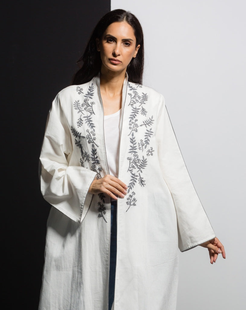 White & Silver Embroidered Front Abaya