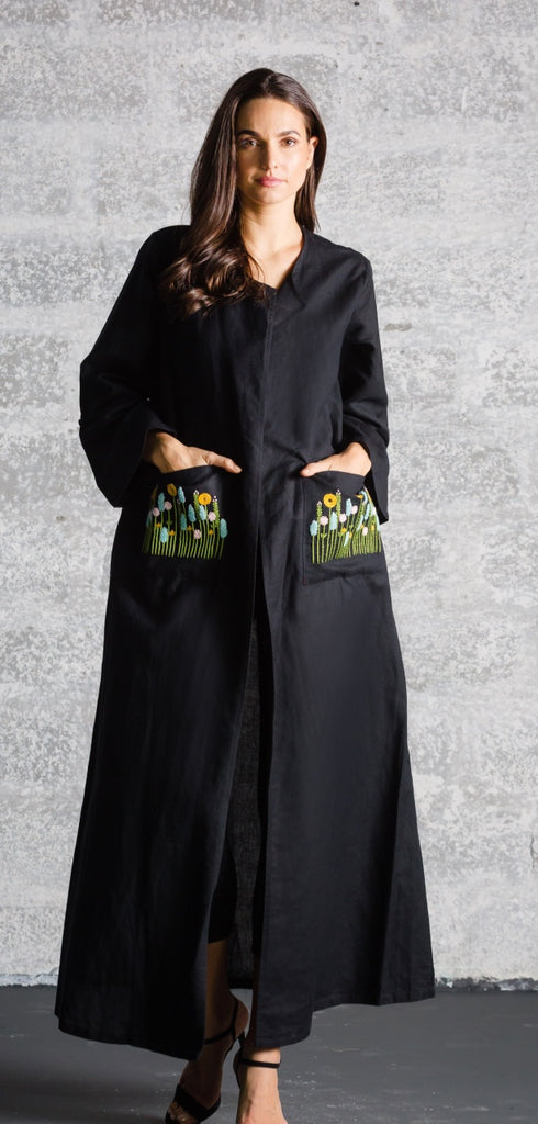Black with Flowered Pockets