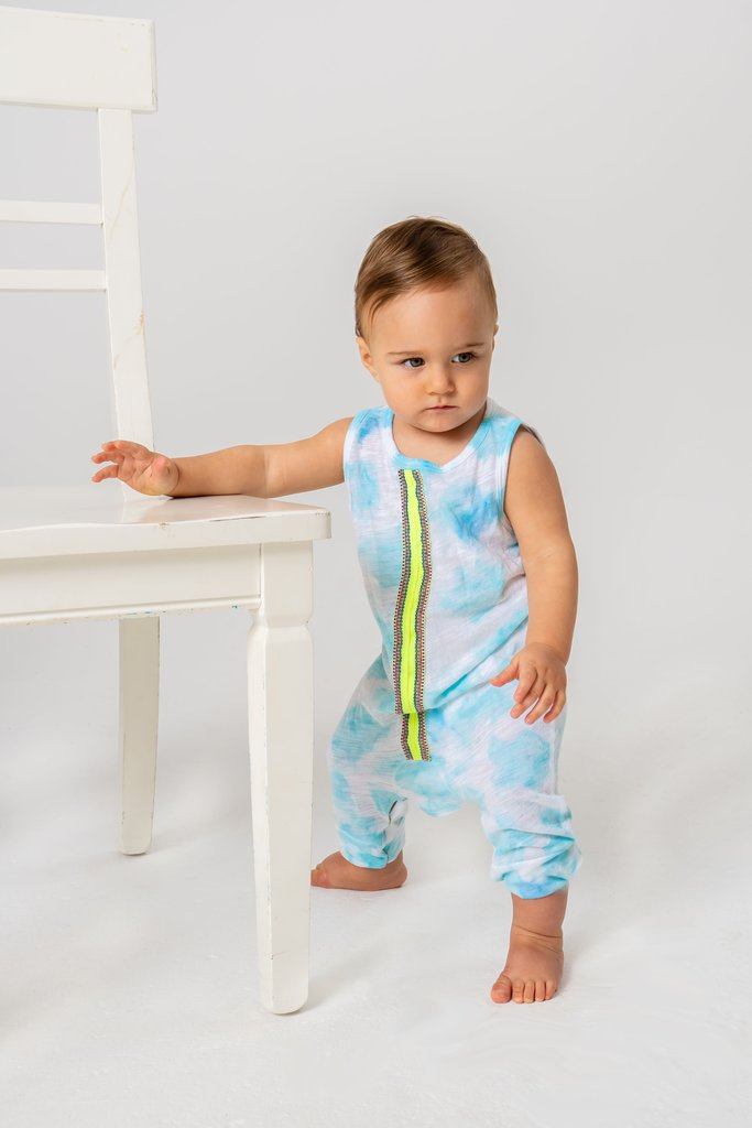 Tie Dye Sleeveless Bodysuit Light Blue