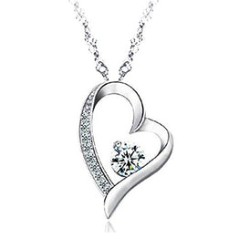 UP Ultrapink 14K White Gold Overlay Sterling Silver Forever Lover Heart Pendant Necklace