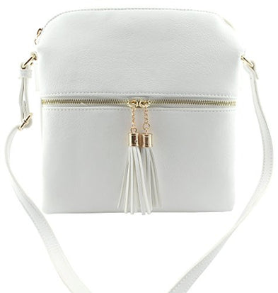 Amy&Joey soft faux leather large multi compartments cross body bags with tassels (WHITE-PLAIN)