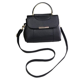 ABage Women's Small Crossbody Purse Leather Top Handle Structured Shoulder Bags, Black