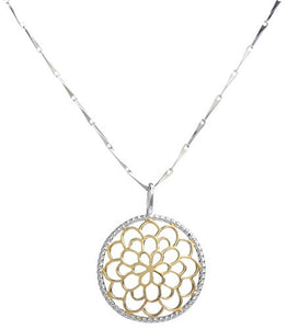 UP Ultrapink Sterling Silver and 18K Gold Bali Inspired Filigree Round Circle Floral Pendant Necklace, Best Jewelry for Women, 16/18 inch
