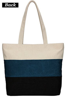 ArcEnCiel Women's Canvas Shoulder Hand Bag Tote Bag (Blue&Black)