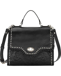 American West Hidalgo Top-Handle Convertible Flap Bag, Black