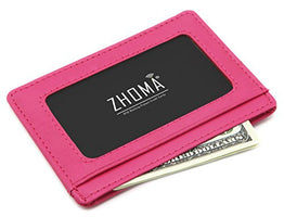 Zhoma RFID Blocking Genuine Leather Wallet Slim Front Pocket Leather Card Holder with ID Window - Rose