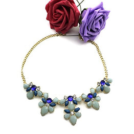 UP Ultrapink HuntGold Elegant Flower Acrylic Diamond Pendant Chain Choker Necklace(Blue)