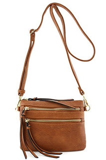 Multi Pocket Small Crossbody Bag Brown