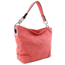Hobo Shoulder Bag with Big Snap Hook Hardware (Peach)