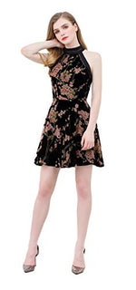 UP Ultrapink Junior Womens Woven Burnout Velver Halter Dress Floral Print Fit n Flare