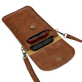 LefRight Crossbody Wallet Cellphone Purse Bag Back Touch Screen with Detachable Shoulder Strap, Brown