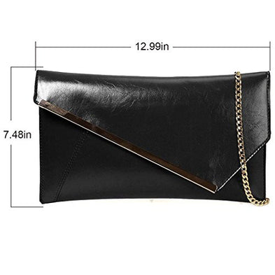 BMC Fashionably Chic Noir Black Faux Leather Gold Metal Accent Envelope Style Statement Clutch