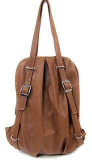 C&L Fashion Korean Style Girl's PU Leather Backpack Handbag Shoulders Bag (Light Brown)
