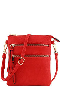 Functional Multi Pocket Crossbody Bag (Tomato Red)