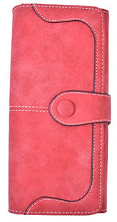 Yeeasy Women's Wallet Clutch Long Faux Vintage Leather Bifold Wallet Card Holder(Red)