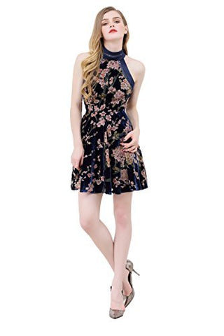 Burnout Velver Halter Dress Floral Print Fit n Flare