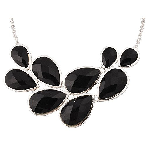 UP Ultrapink Jane Stone Black Party Jewelry Fashion Statement Pendant Necklace for Women (Fn0564-S-Black)