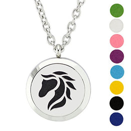 UP Ultrapink AZORA Horse Aromatherapy Essential Oil Diffuser Necklace Locket Round Pendant with 24 inch Chain + 8 Refill Pads