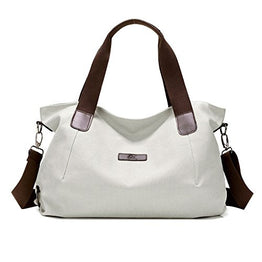 LINGTOM Canvas Shoulder Bags Vintage Hobo Handbags Top Handle Tote Bags for Women, Beige White