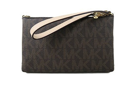 MICHAEL Michael Kors Large Wristlet MK PVC Logo (One Size, Brown)